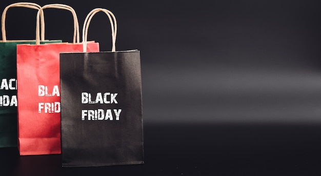 Shopping bags with black friday sale shopping