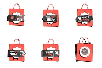 Shopping bags with colorful offer labels