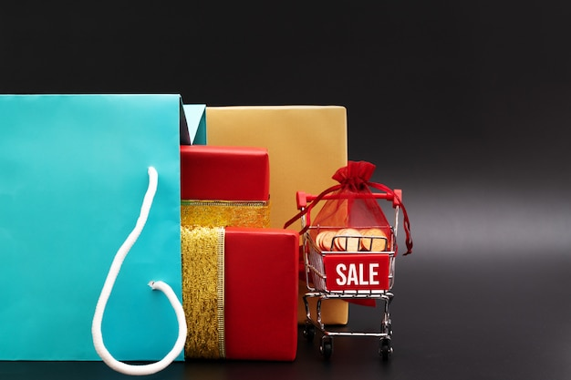 Shopping bags with gift box, year-end sale, 11.11 singles day sale