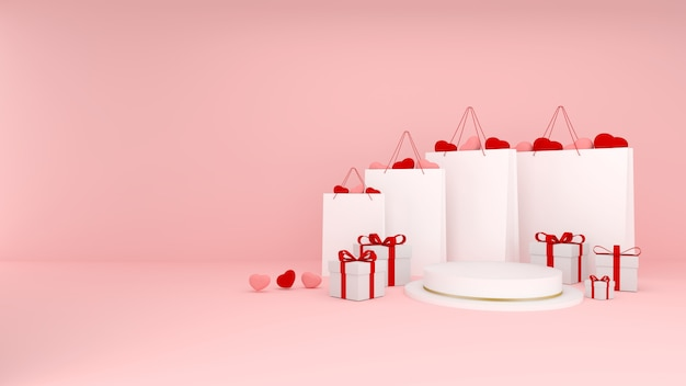 Shopping bags with pink and red hearts inside with presents and white podium with golden stripes on pink background. valentines three dimensional rendering. 3d background with copy space. sale banner.