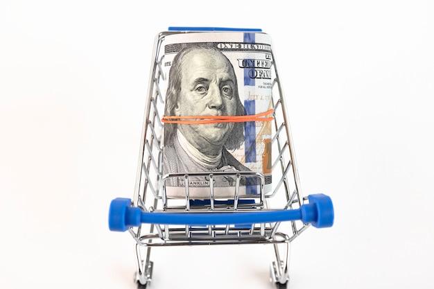白い背景の上の買い物かごと米ドル。スペースをコピーします。