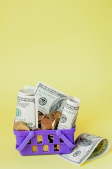 Shopping basket with coins and dollar bills on yellow background