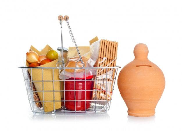 The shopping basket with food and money box
