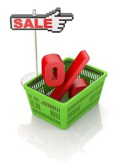 パーセンテージ記号付きの買い物かご。白い背景の上の販売コンセプト
