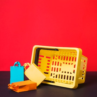 Shopping basket with toy packets