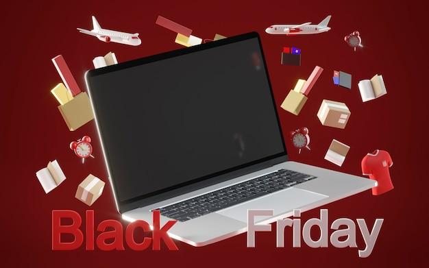 Shopping venerdì nero con il computer portatile