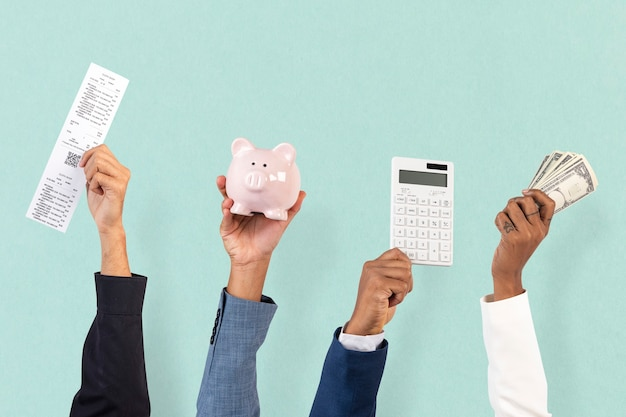 Shopping and budgeting financial concept