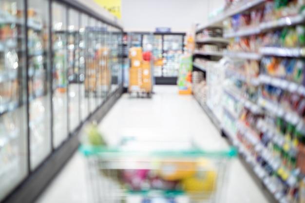 ショッピングカートの抽象的なぼやけたスーパーマーケットの通路とカラフルな棚、認識できない顧客を背景として
