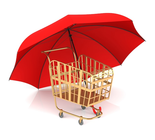 Корзина и красный зонтик. 3d-рендеринг