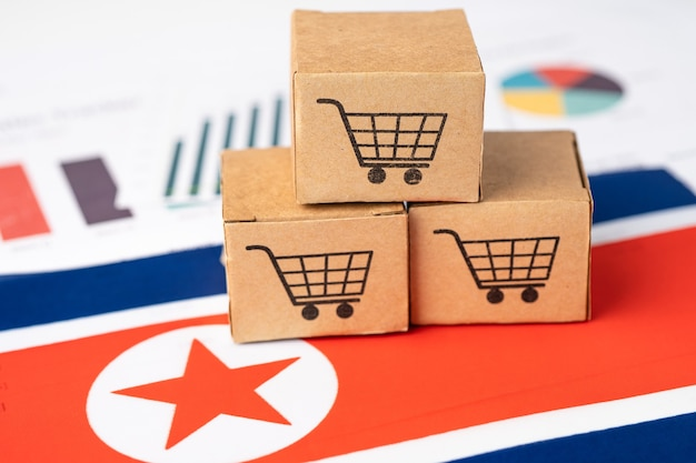 北朝鮮旗のショッピングカートボックス