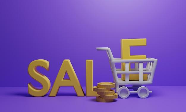쇼핑 카트는 판매 텍스트와 동전을 운반