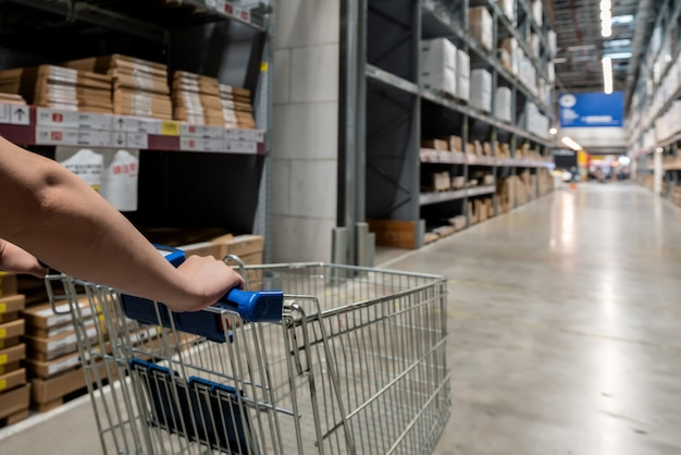 Shopping cart in distribution center warehouse