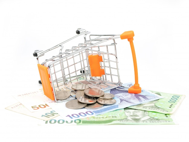 Shopping cart filled with banknotes and coins isolated on white background. shopping concept.