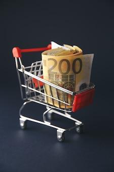 Корзина с банкнотами европейской валюты, изолированная на белом