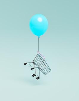 風船で浮かぶショッピングカート