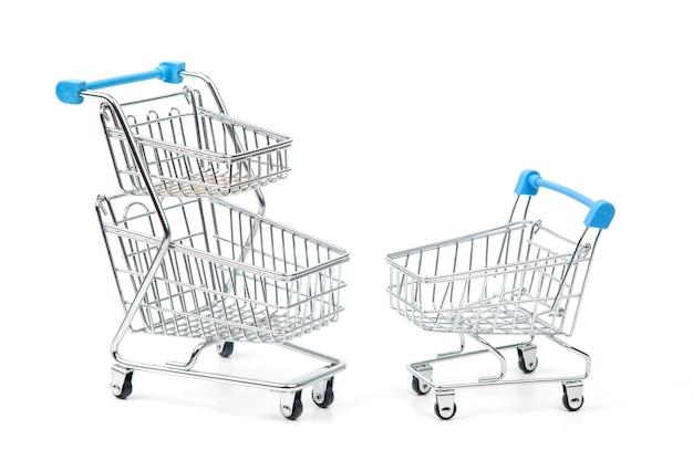 흰색 바탕에 시장 식료품 쇼핑 카트
