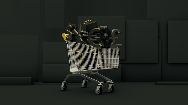 Shopping cart full of euro, dollar, yen and pound currency symbols on black