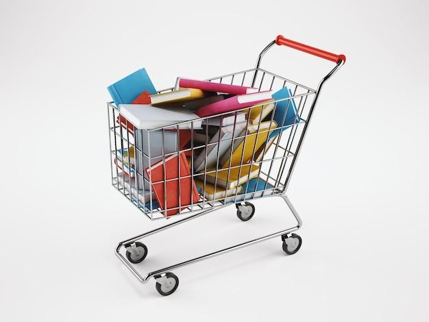 흰색 바탕에 책의 전체 쇼핑 카트