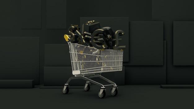 黒のユーロ、ドル、円、ポンドの通貨記号でいっぱいのショッピングカート