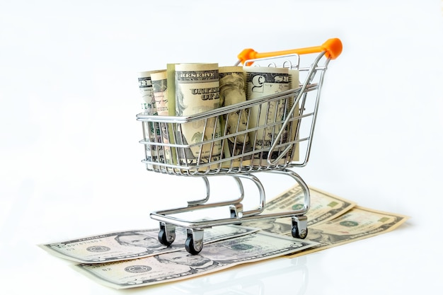 白で隔離されるアメリカの紙幣のショッピングカート。コンセプト投資
