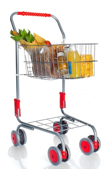 Shopping cart full with food products
