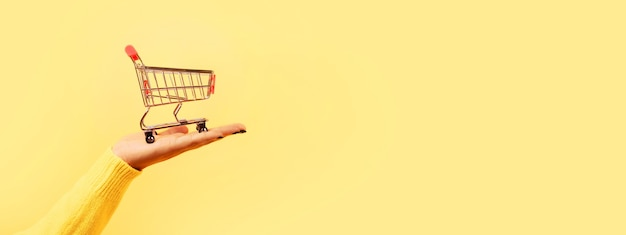 Shopping cart on hand over yellow background