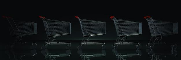 暗い背景の3dレンダリングのショッピングカート