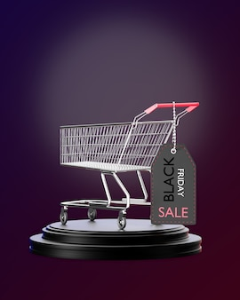 A shopping cart is parked on a black podium and a price tag is hung on the cart handle in darkness. 3d rendering illustration.