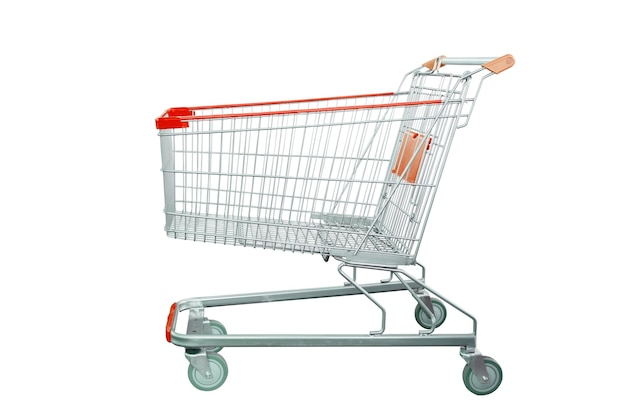 Shopping cart isolated on white background with clipping path