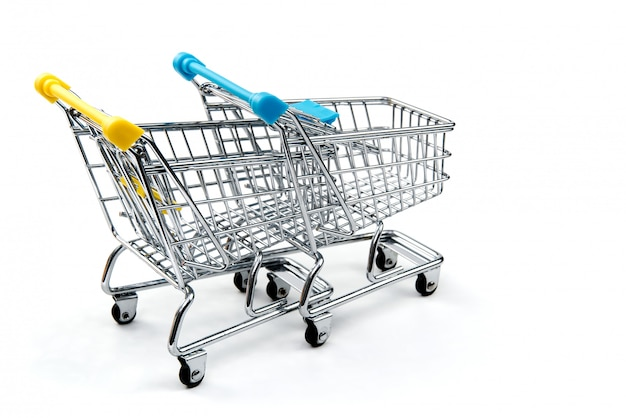 A shopping cart isolated on white inclluding clipping path.