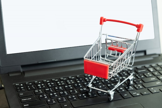 Shopping cart on the keyboard