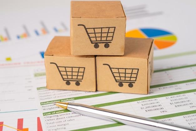 Логотип корзины покупок в коробке на графике. банковский счет, инвестиционные аналитические исследования, экономика данных, торговля, бизнес, импорт, экспорт, транспорт, концепция онлайн-компании.