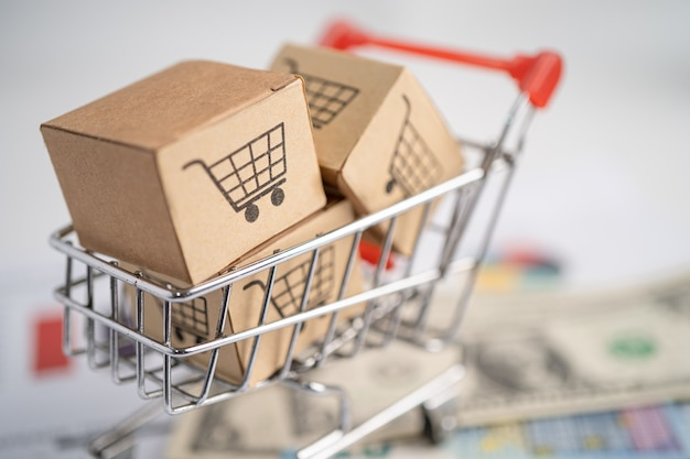 グラフの背景とボックスのショッピングカートのロゴ