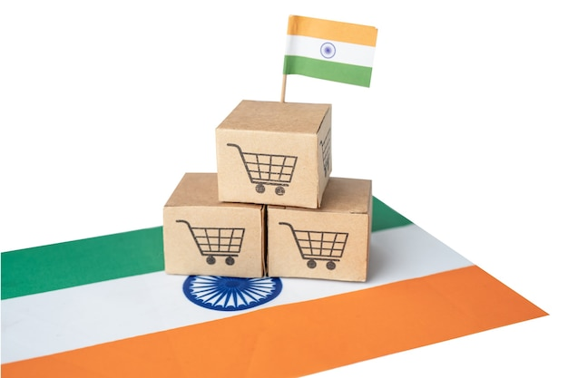 Shopping cart logo with india flag, shopping online import export ecommerce finance business concept.