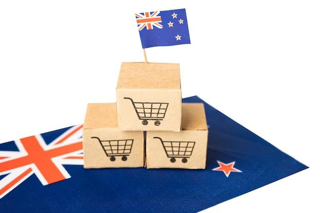 뉴질랜드 국기가있는 쇼핑 카트 로고