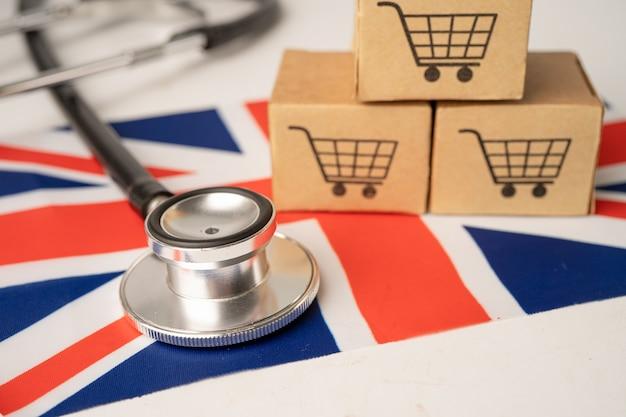 영국 국기와 함께 쇼핑 카트 로고