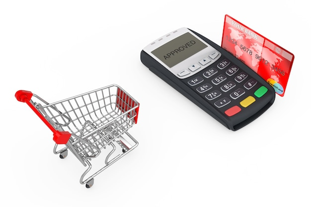 흰색 바탕에 신용 카드 결제 터미널 근처 쇼핑 카트. 3d 렌더링