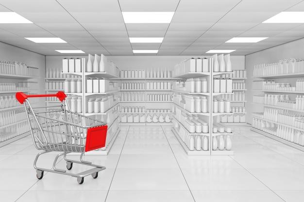 スーパーマーケットのインテリアの極端なクローズアップとして、空白の製品または粘土スタイルの商品が入ったマーケットシェルフラックの近くのショッピングカート。 3dレンダリング。