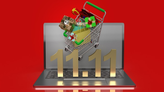 The shopping cart on notebook  and gold text 11.11 for shopping content 3d rendering.