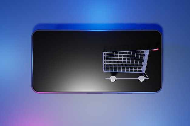 휴대 전화에 쇼핑 카트입니다. 온라인 쇼핑 개념, 3d 렌더링