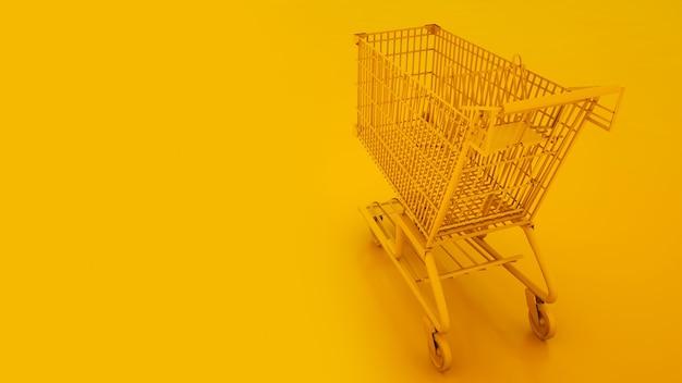 노란색 배경에 쇼핑 카트입니다. 3d 그림입니다.