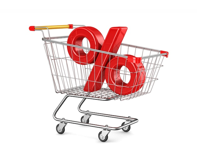 Shopping cart and percent on white space. isolated 3d illustration