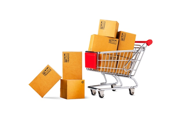 Shopping cart and product package boxes isolated on white background, online shop and delivery concept