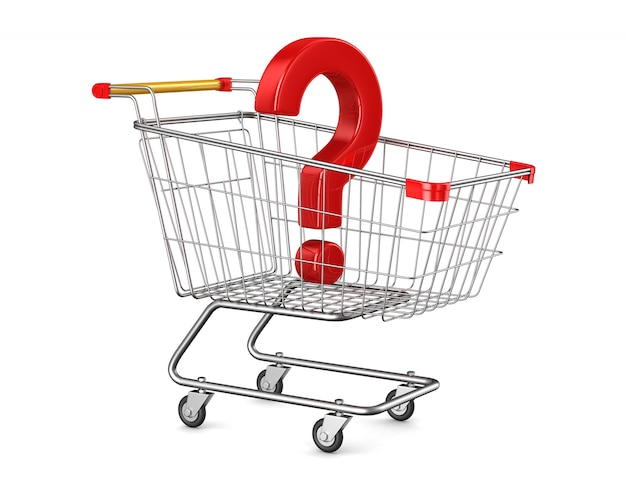 Shopping cart and question on white space. isolated 3d illustration