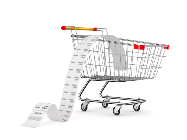Shopping cart and sales check on white. isolated 3d illustration