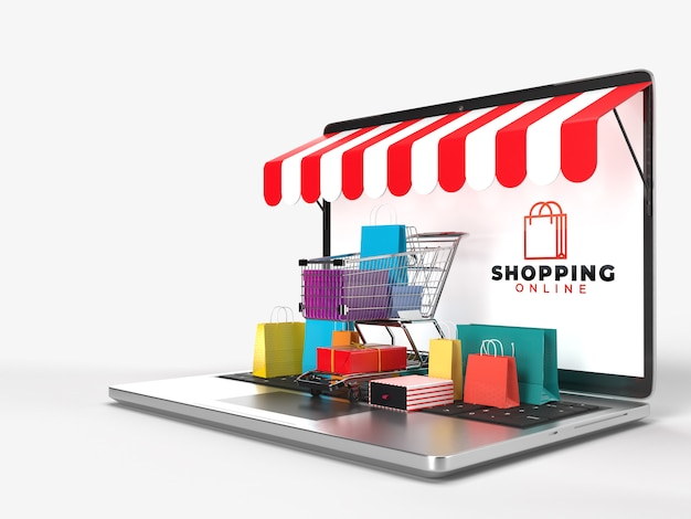 Корзина для покупок, сумки для покупок и коробка с продуктом наденьте ноутбук. это интернет-магазин интернет-магазина цифрового рынка. концепция маркетинга и цифровой маркетинговой коммуникации. 3d-рендеринг