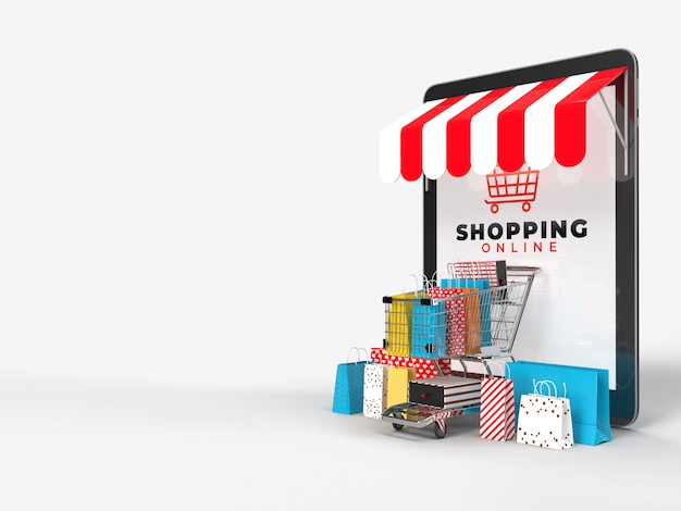 Корзина для покупок, хозяйственные сумки, кредитные карты, а также коробку с продуктом и планшет, который представляет собой интернет-магазин интернет-магазина цифрового рынка. концепция маркетинга и цифрового маркетинга. 3d-рендеринг