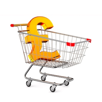 Shopping cart and sign british pound on white background. isolated 3d illustration