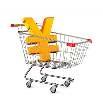 Shopping cart and sign yen on white background. isolated 3d illustration