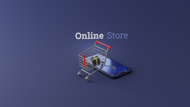Shopping cart on smartphone online 3d shopping concept